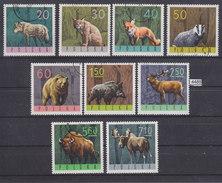 POLAND 1965, POLSKA, FOREST ANIMALS, BEAR, FOX, LYNX, WOLF, Cpl. Set., Mi: 1635 - 1643, USED CTO , See Scans - Timbres