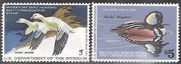 US 1977-8  Sc#RW44-5  $5 Ducks  Conservation  MNH**  Ross Geese & Hooded Merganser   2016 Scott Value $32 - Canards