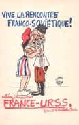 Jolie CP Illustrée Par Jean Effel,  Vive La Rencontre Franco-soviétique !, Association France-URSS, Paris - Effel