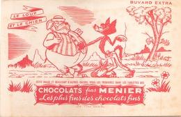 Buvard Chocolats Fins Menier  21 X 14 Cm ( Pliures, Taches ) - Cocoa & Chocolat