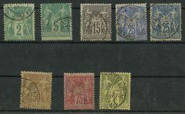 Petit Lot France Classiques Oblitérés N°74-75-77-78-79-80-81-82 - 1876-1878 Sage (Type I)