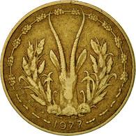 West African States, 5 Francs, 1977, TTB, Aluminum-Nickel-Bronze, KM:2a - Ivory Coast