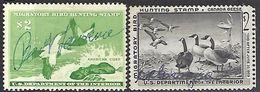 US  1957-8  Sc#RW24-5  $2 Geese & Ducks Hunting Stamps Used  2016 Scott Value $24 - Ducks