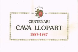 26769. Propaganda Triptico Centenari CAVAS LLOPART ( Subirats) Barcelona 1987. Garantia Calidad - Publicidad
