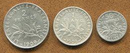 LOT DE 3 PIÈCES FRANÇAISES 50CENT.-1FR-2FR 1909 - Frankreich