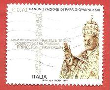ITALIA REPUBBLICA USATO - 2014 - Canonizzazione Di Papa  Giovanni XXIII - € 0,70 - S. 3472 - 2011-...: Afgestempeld