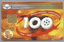 MT.- Telefoonkaart.- MALTA. MALTACOM. MALTA FOOTBALL ASSOCIATION 1900 - 2000. 57 Units, Lm 300. Vat Included. 2 Scans. - Malta