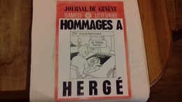HOMMAGES A HERGE Affichette Journal De Genève Samedi Littéraire (verscp) - Affiches & Offsets