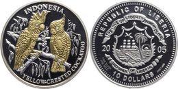 LIBERIA 2005 10 DOLLARI MONETA FONDO SPECCHIO CON SVAROWKY PAPPAGALLI INDONESIA - Liberia