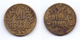 German East Africa 20 Heller 1916 T ( Obverse B-reverse B), KM#15a - East Germany Africa