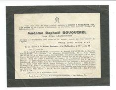 FAIRE-PART AVIS De DECES MEMENTO..Mme BOUQUEREL Née Elise LEMONNIER Décédée à AUBUSSON (61) En 1955 à 59 Ans - Décès