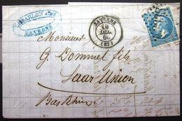 Cachet Type 15 + GC 3338  -  SAVERNE  -  BAS RHIN  -  LAC - 1866 - 1849-1876: Periodo Classico
