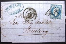 Cachet Type 15 + GC 3338  -  SAVERNE  -  BAS RHIN  -  LAC - 1865 - Marcophilie (Lettres)