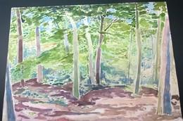 RENE TEIL   LA CLAIRIERE  AQUARELLE   SIGNEE  RENE TEIL 1950 60 - Watercolours
