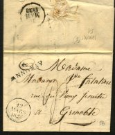 ARDECHE: Pli De  BOULIEU De 1828 En Port Du Avec Marque Linéaire 6/ ANNONAY P GRENOBLE - Marcophilie (Lettres)
