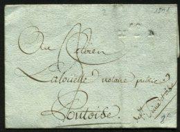 LOIR ET CHER: Pli De MER De 1801 En Port Du Avec Marque Linéaire 40/ MER à Sec P PONTOISE - Marcophilie (Lettres)