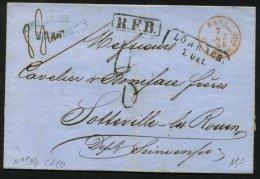 ALLEMAGNE: Pli De LORBACH De 1856 En Port Du Avec LORBACH + Entrée BADE Beau FR. DE BALE P SOTTEVILLE - Marcophilie (Lettres)