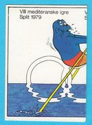 ROWING - Mediterranean Games 1979. ( Mascot Mediter. Monk Seal ) MINT STICKER * Aviron Rudern Ruder Jeux Mediterraneens - Rowing