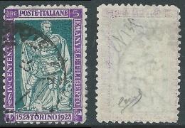 1928 REGNO USATO FILIBERTO VITTORIA 5 LIRE D.11 FIRMATO BIONDI - R43-2 - 1900-44 Vittorio Emanuele III