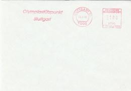 1990 Stuttgart OLYMPIC TRAINING CENTER COVER METER SLOGAN Stamps Olympics Games Germany Sport - Otros