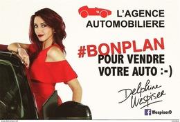 CPM Carte Postale Publicitaire Célébrité DELPHINE WESPISER Pub L'Agence Automobilière Auto Miss France 2012 Alsace - Femmes Célèbres
