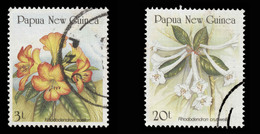 Papua New Guinea Scott # 703-704, Set Of 2 (1989) Rhododendrons, Used - Papoea-Nieuw-Guinea