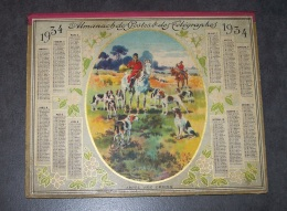 JOLI CALENDRIER DOUBLE APPEL AUX CHIENS, CHASSE A COURRE ANNEE 1934, ALMANACH DES POSTES ET DES TELEGRAPHES, ARDENNES 08 - Calendriers
