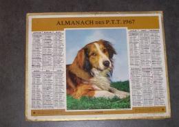 1967 ALMANACH CALENDRIER DES P.T.T, PTT, POSTES, CHIEN, OBERTHUR, ARDENNES 08 - Grand Format : 1961-70