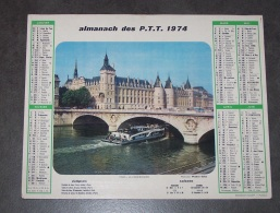 1974 ALMANACH CALENDRIER DES P.T.T, PTT, POSTE, OLLER, PARIS LA CONCIERGERIE, AUTOMNE A CHANTILLY, ARDENNES 08 - Calendriers