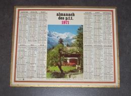 1971 ALMANACH CALENDRIER DES P.T.T, PTT, POSTE, OBERTHUR, FERME DE LA COTE ET MONT-BLANC - Calendars