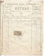 Facture  Specialiste Pour Uniformes Huteau Maitre Taille Au 91e De Ligne 20.04.1895 Rare - Documents