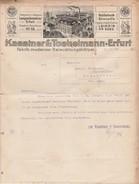 Facture 1913 / KAESTNER & TOEBELMANN Erfurt / Fabrik Moderner Beleuchchtungskörper / Leipzig / Allemagne - Autres
