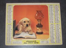 1978 ALMANACH CALENDRIER DES P.T.T, PTT, POSTE, CHIEN SAVANT, CHAT CURIEUX, OLLER, ARDENNES 08 - Calendars