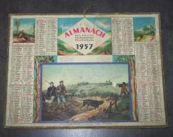 1957 ALMANACH CALENDRIER DES P.T.T, PTT, POSTES , TELEGRAPHE, TELEPHONE, CHASSE AU LIEVRE ( WALKER )ARDENNES 08 - Calendriers