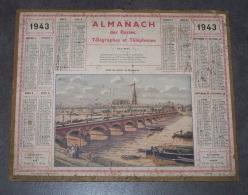 1943 ALMANACH CALENDRIER DES P.T.T, PTT, POSTES , TELEGRAPHES, TELEPHONES, PONT DE PIERRE DE BORDEAUX, ARDENNES 08 - Calendriers