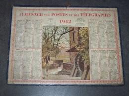 1942 ALMANACH CALENDRIER DES P.T.T, PTT, POSTES ET DES TELEGRAPHES, LE MOULIN A EAU, DEUX SEVRES 79 - Calendriers