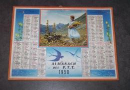 1958 ALMANACH CALENDRIER DES P.T.T, PTT, POSTE, OLLER, GENTIANES EN SAVOIE - Calendriers