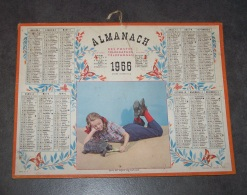 1956 ANEE BISSEXTILE ALMANACH CALENDRIER DES P.T.T, PTT, POSTE, OLLER, QU'IL EST DOUX DE S'AMUSER - Calendriers