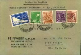 1948, Luftpostbrief Ab FRANKFURT (MAIN) 12.6.48 Mit Portogerechter Kontrollrat II-Frankatur Und Sog. JEIA-Marke. Zeitger - Zone AAS