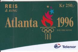 NORWAY - Atlanta 1996 Olympics, Telenor Global Prepaid Card Kr.250, Used - Norway