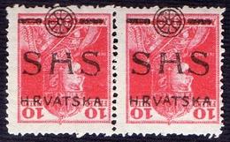 YUGOSLAVIA - JUGOSLAVIJA - SHS  HRVATSKA - CARLO  INVERTED Ovpt. PAIR - **MNH - 1919 - Nuovi
