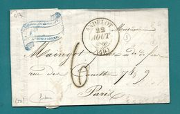 Haute Marne - Andelot Pour Paris. CàD Type 13 + Taxe Tampon 6. 1845. LAC Ecrite à RIMAUCOURT - Postmark Collection (Covers)