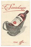 PUB PULICITE F. SENECLAUZE VOUS OFFRE SES GRANDS VINS D'ORANIE RECOLTE 1930 75F LA CAISSE, Format CP - Publicités
