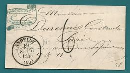 Haute Marne - Andelot Pour Paris. CàD Type 13 + Taxe Tampon 6. 1846. LAC Ecrite à RIMAUCOURT - Postmark Collection (Covers)