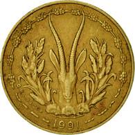 West African States, 5 Francs, 1991, TTB, Aluminum-Nickel-Bronze, KM:2a - Ivory Coast