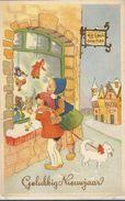 JOYEUX NOEL WEIHNACHTEN CHRISTMAS   VITRINE DE NOEL CHIEN POUPEE PERE NOEL TEDDY OURS BAREN  KINDER ENFANT 1952 - Santa Claus