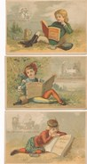 LOT / SERIE De 3 Chromos Lecture Milton Rabelais Goethe à Sesfnheim ( AUX BONHEUR DES ENFANTS Jouets CORNIER à ORLEANS ) - Autres