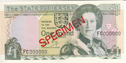 Jersey Banknote (Pick 15s) One Pound SPECIMEN Overprint Code FC - Superb UNC Condition - Jersey