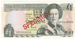 Jersey Banknote One Pound (Pick 26s) SPECIMEN Overprint Code ADC - Superb UNC Condition - Jersey
