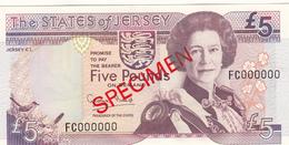 Jersey Banknote Five Pound  (Pick 21s) SPECIMEN Overprint Code FC - Superb UNC Condition - Jersey